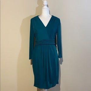 BCBGMAXAZRIA Dark Teal Long Sleeve V-Neck Dress